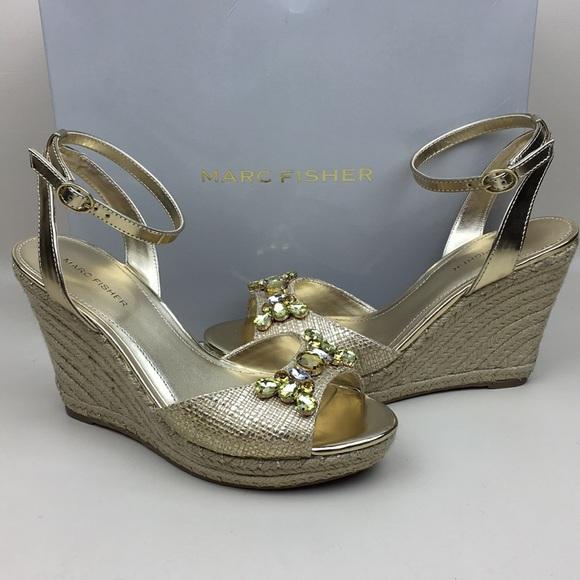 cb8e79307 Marc Fisher Shoes | Elia Jeweled Wedge Espadrille Sandal | Poshmark